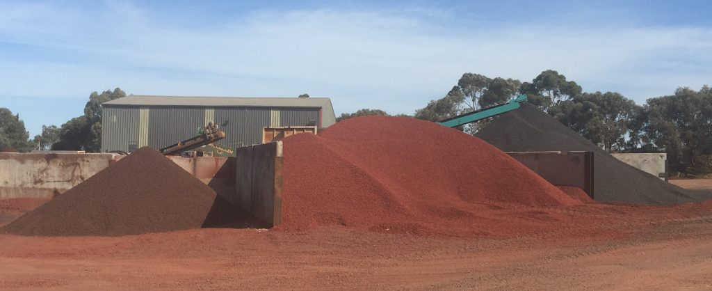 Brown, red black stockpiles